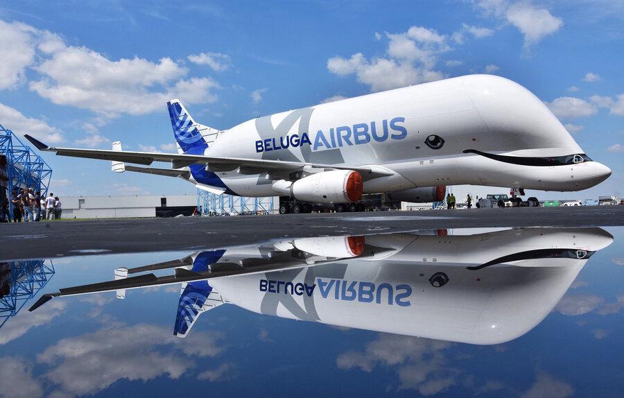 بلوگا ایکس ال معروف به نهنگ سفید ایرباس به پرواز درآمد ، هواپیمایی با ارتفاع یک ساختمان سه طبقه