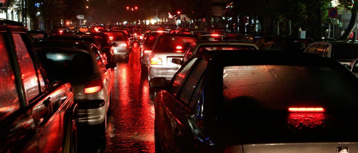 نقشه ترافیک شدید تهران در اثر بارش