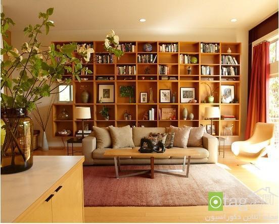 مدل کتابخانه چوبی مناسب برای دکوراسیون داخلی منازل مسکونی